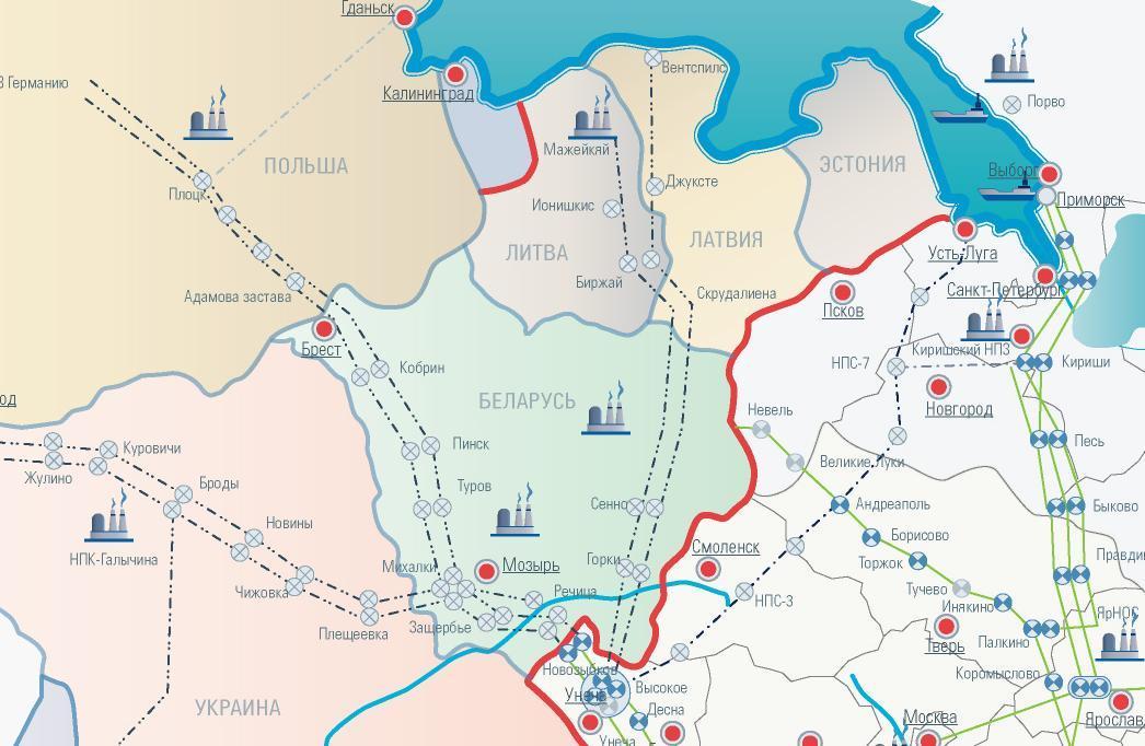 Схемы магистральных нефтепроводов.